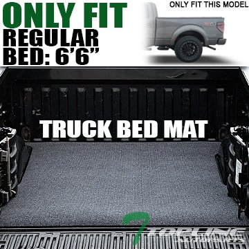 """Topline Autopart Black Gray Polyester Truck Bed Cargo Box Floor Mat Carpet 15-17 Ford F150 6.5 Ft 78"""" Bed"""