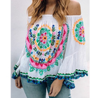 Latest Elegant European Style Custom Clothes Off Shoulder Banjara Top Suzani Embroidery Flared Sleeves Bohemian Women Blouse