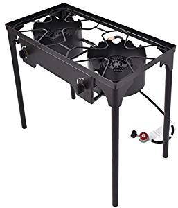 K&A Company Double Burner Outdoor Stove BBQ Grill Camping Portable Picnic Cooking Camp Cast Iron 15000 BTU