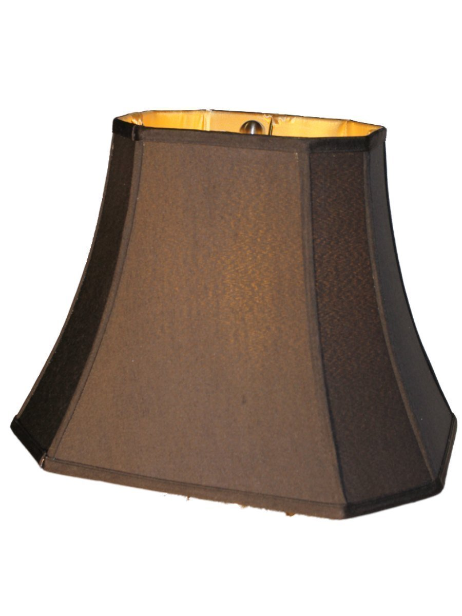 "Upgradelights 12"" Silk Shantung Black Lamp Shade Rectangle Cut Corner Gold Fabric Lining"
