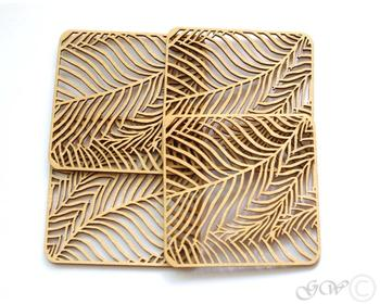 Table Decorative Set of 4 Pieces MDF laser cut leaf design coasters