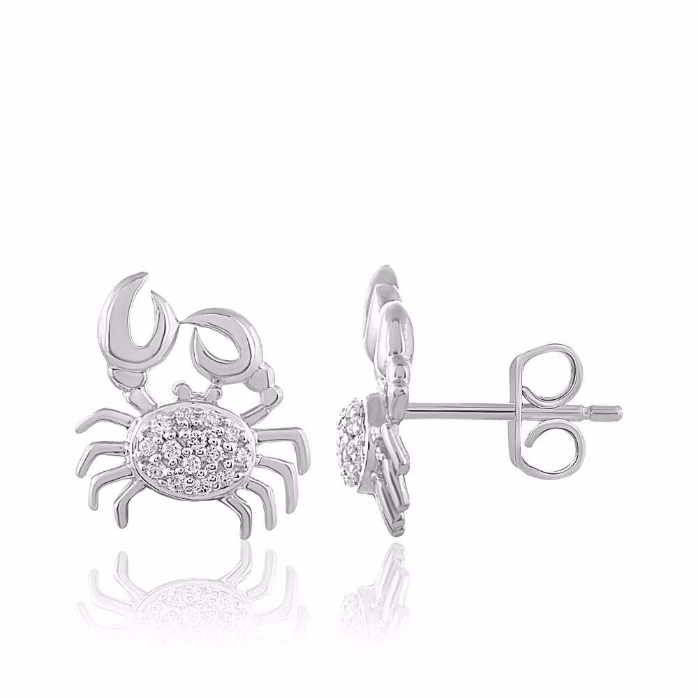 Cancer Zodiac Crab Earrings in 10K Gold with Natural Diamond. Also Available in 9K, 14K and 18K Gold