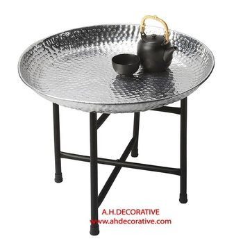 Hammered Tray Side Table View Metal