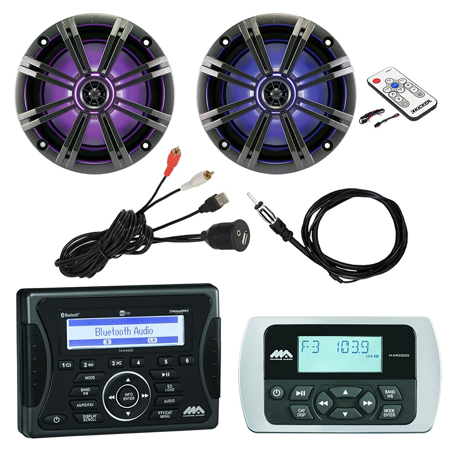 """Jensen Marine Audio Bluetooth AUX USB SiriusXM-Ready Receiver, Wired Remote, 2x 8"""" Marine LED Coaxial Speakers w/ Grilles, Braided Cable Antenna, Kicker LED Light Remote Controller, USB Mount"""