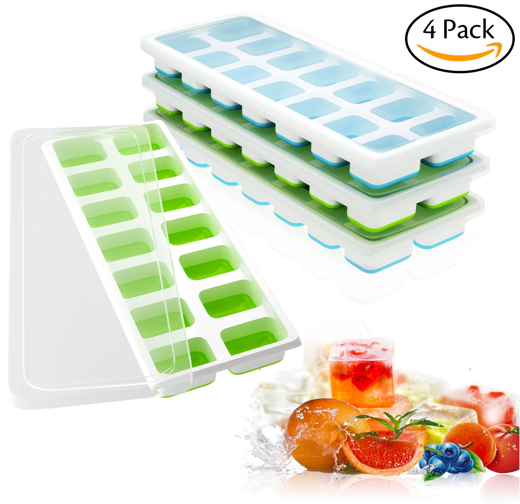 Ouddy 4 Pack Ice Cube Trays with Lid, Silicone Ice Cube Molds, 14-Ice Trays Can Make 56 Ice Cubes, BPA Free Nontoxic and Safe, Stackable Durable (Blue & Green)