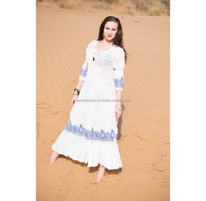 Christmas Gift Barcelona Tunic Mini Boho People Bohemian Embroidery Dress white blue Free Hippie Chic 3/4 Summer Dress