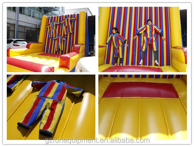 Commercial Inflatable Climbing Sticky Wall With Suit For Sale