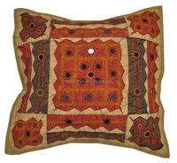 Rajasthani Cotton Hand Applique And Mirror Work Square Car Cushion Cover