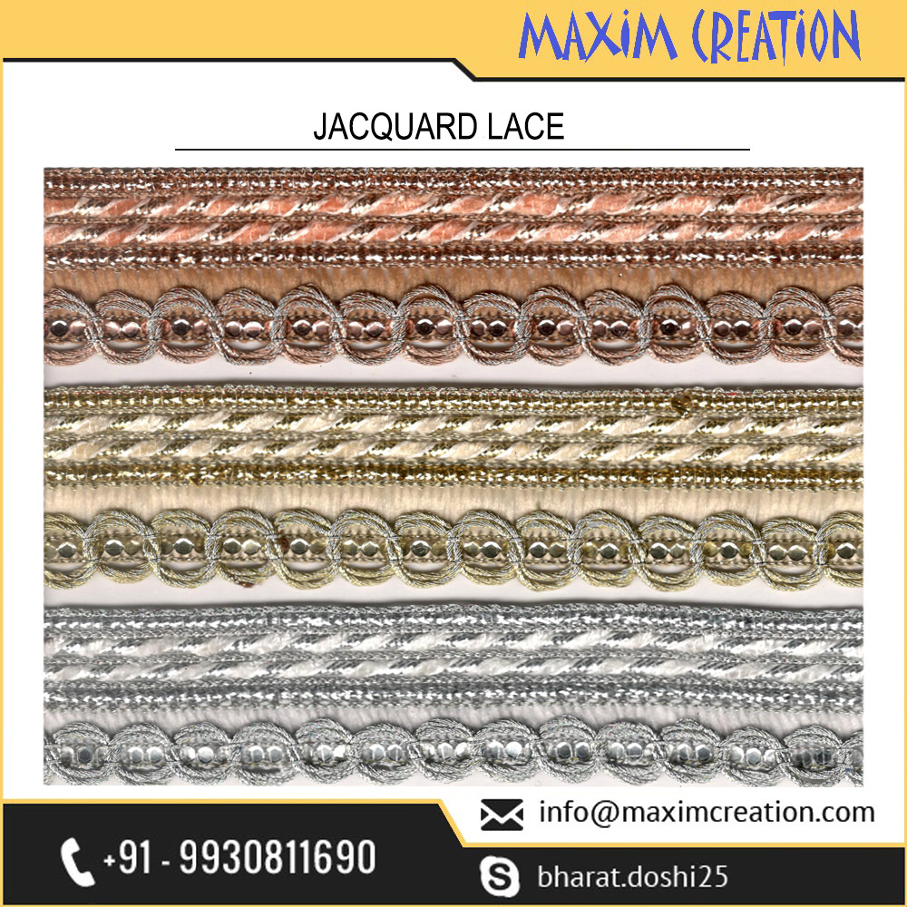 Trusted Fashion House Selling Exclusive Jacquard Lace For Dress Border Design