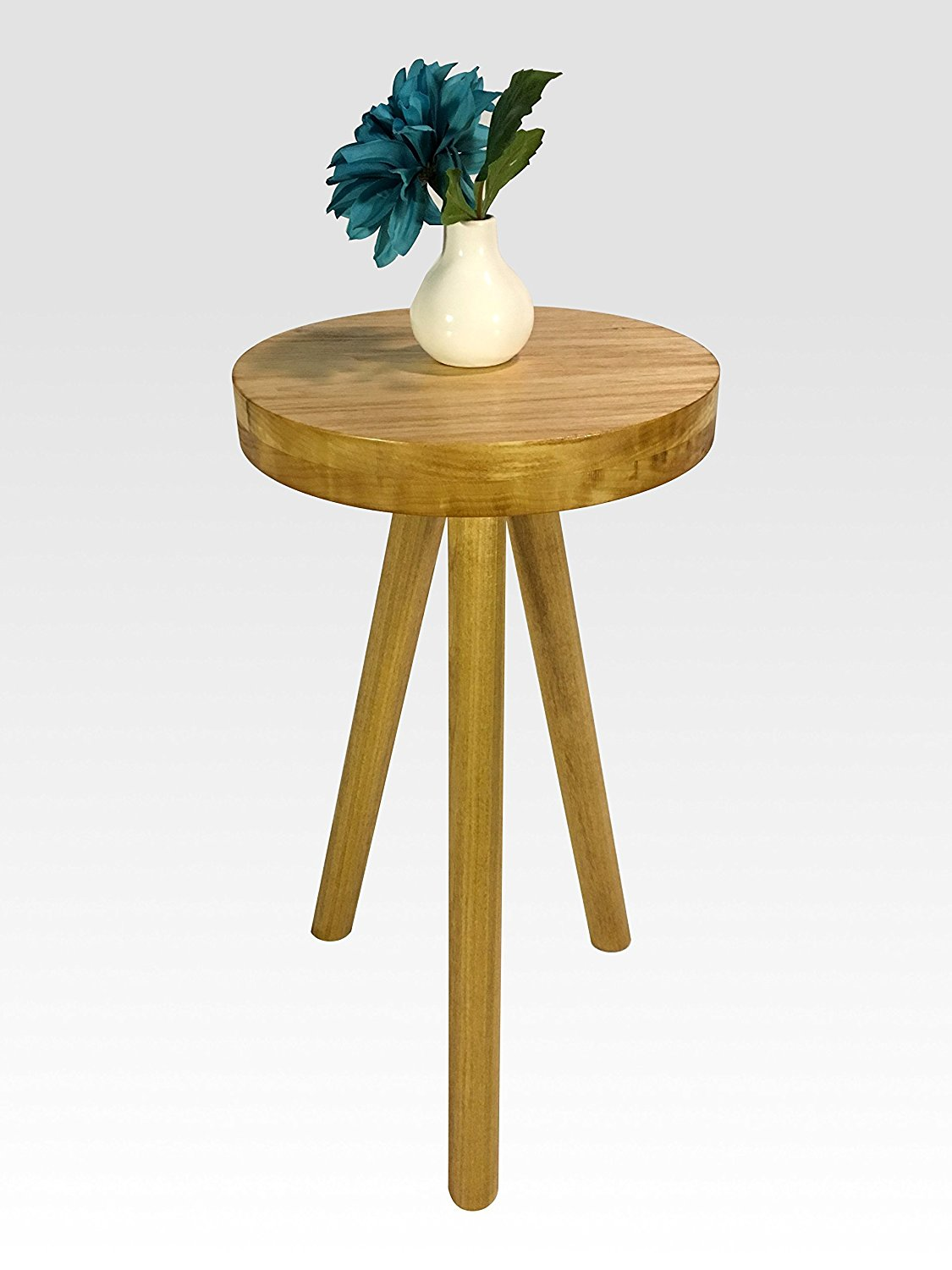 Modern Side Table in Honey by Candlewood Furniture End Table Bar Stool, Bedside Table, Nightstand, Wood, Wooden, Three Legged Table