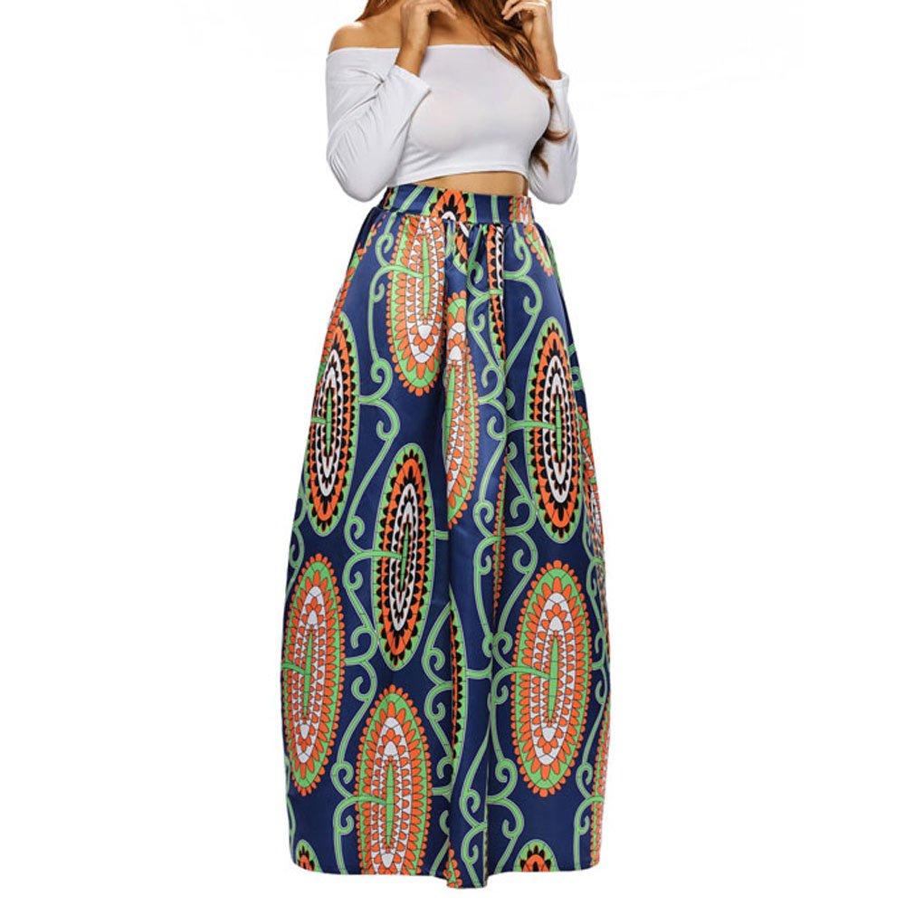 67cdfd9d68 Get Quotations · Kalin L Women Deluxe African Print Color Block Contrast High  Waist Maxi Flared Circle Skirt