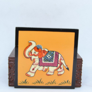 Handcrafted Wooden Coasters with Animal Artwork-3