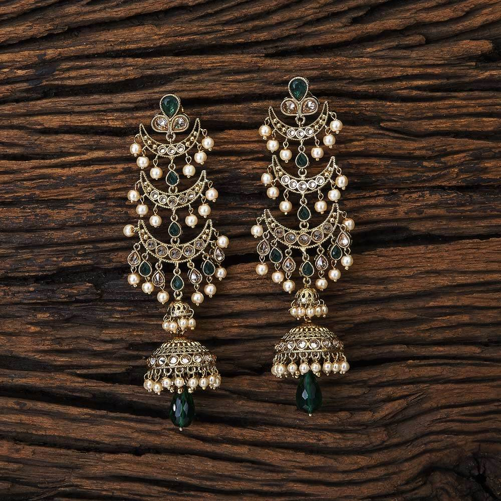 Chand Style Long Jhumki With Mehndi Plated Jewelry 17119 Green