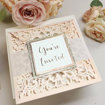 Laser Cut Invitations Belly Band Light Peach Glitter Pocket Folder Buy Elegant Wedding Invitations Laser Cut Weding Invitation Diy Product On