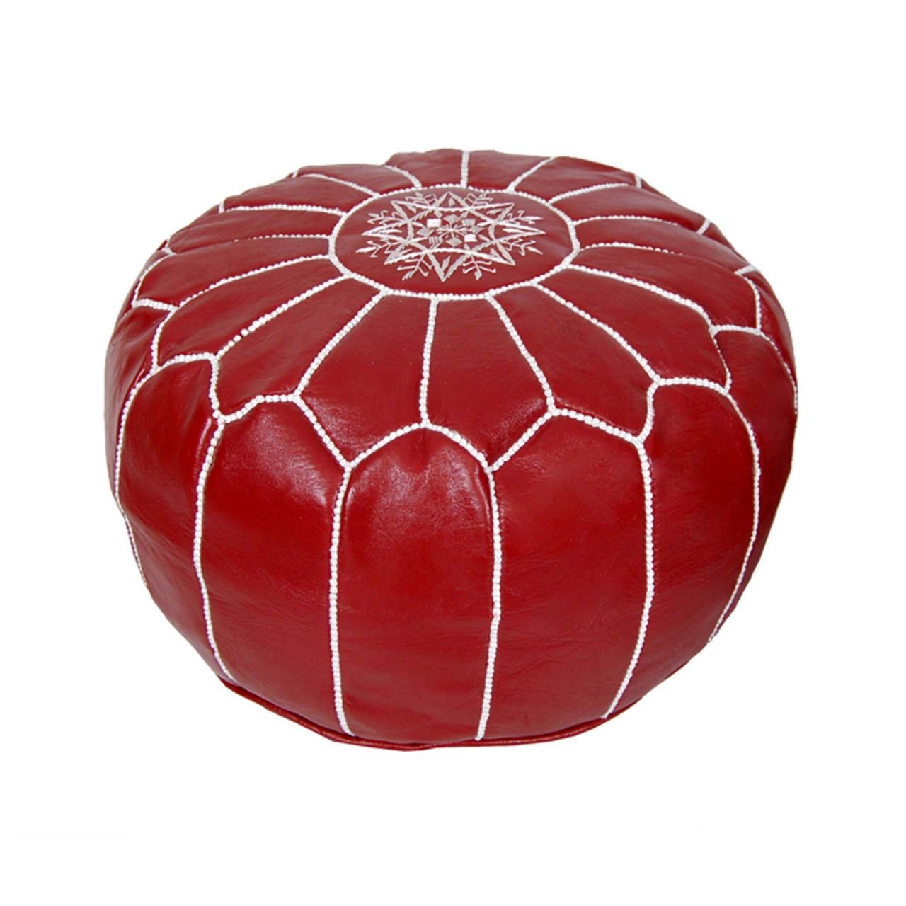 Moroccan Pouf Ottoman Footstool (Leather) Genuine Hand-Stitched Seating | Unstuffed | Living Room, Bedroom, Sitting Area | Deep Red | Exclusive Designs