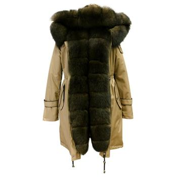 Turkey Women's Fur Coats Detachable Hooded Collar Trim Real Fox Fur Parka
