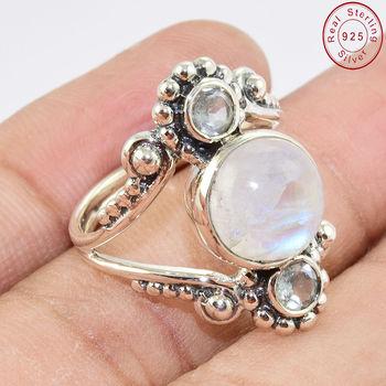 Regenbogen Mondstein Blau Topas Edelstein ring 925 Sterling Silber Ring Großhändler Silber Schmuck Indien Buy 925 Sterling Silber Ring,Edelstein