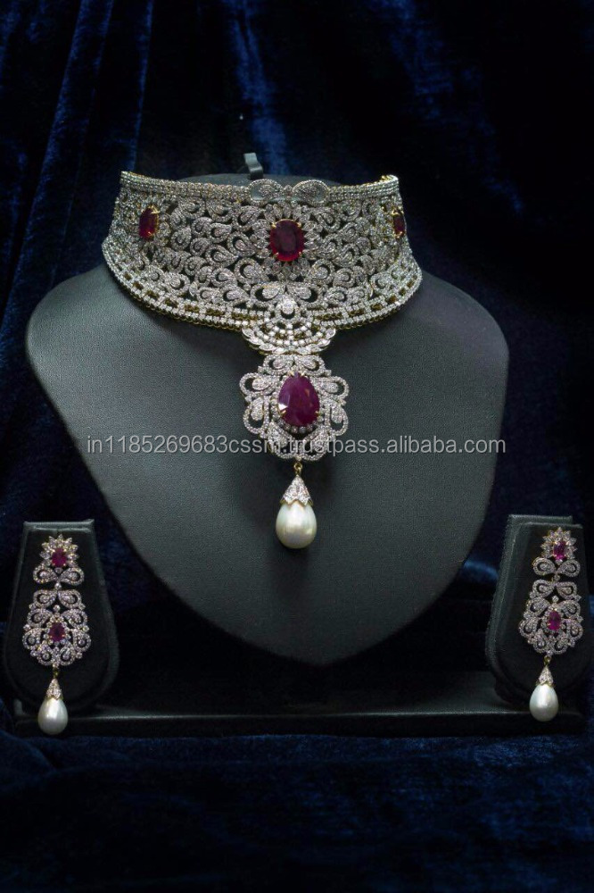 Diamond Necklace Set with ruby