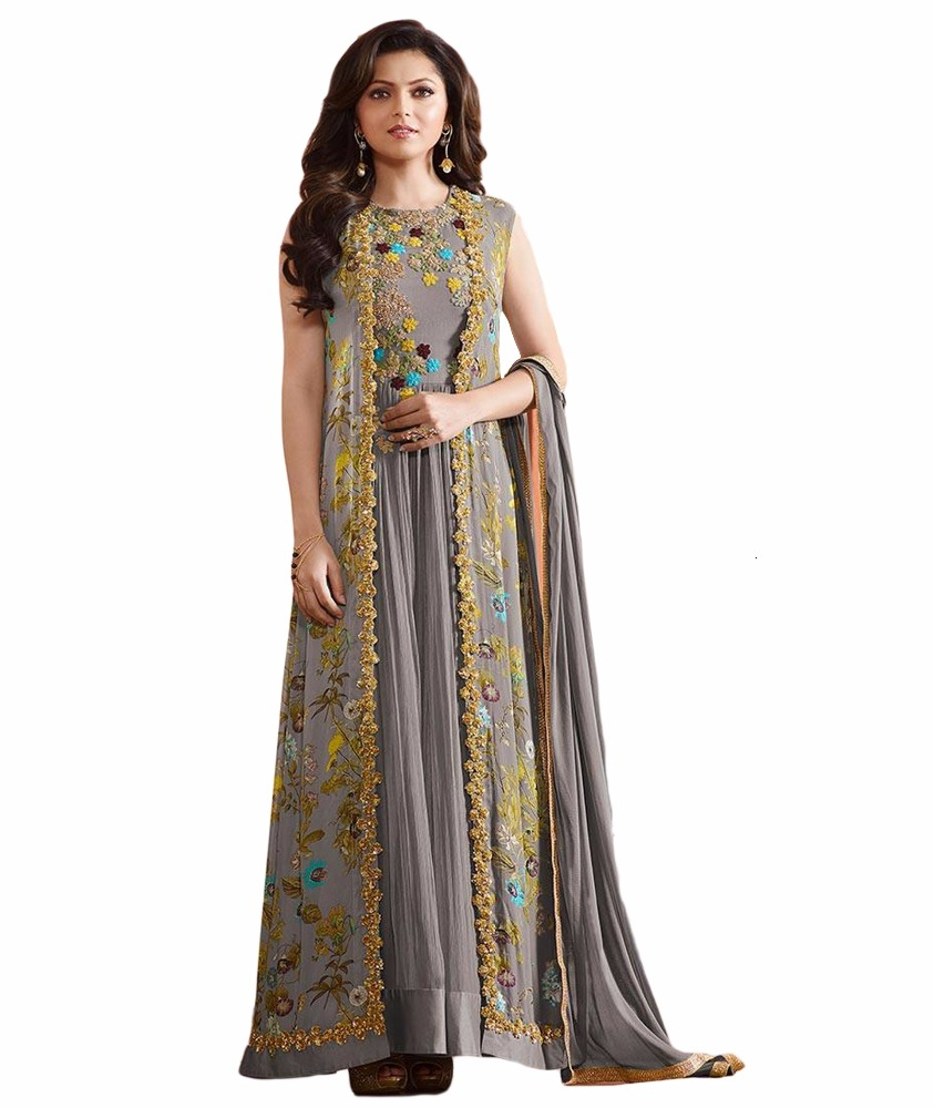 2017 Party Wear Semi Stitched Dress Material With Printed Jacket / Latest Casual Occasion Wear Anarkali Suits (anarkali suits)