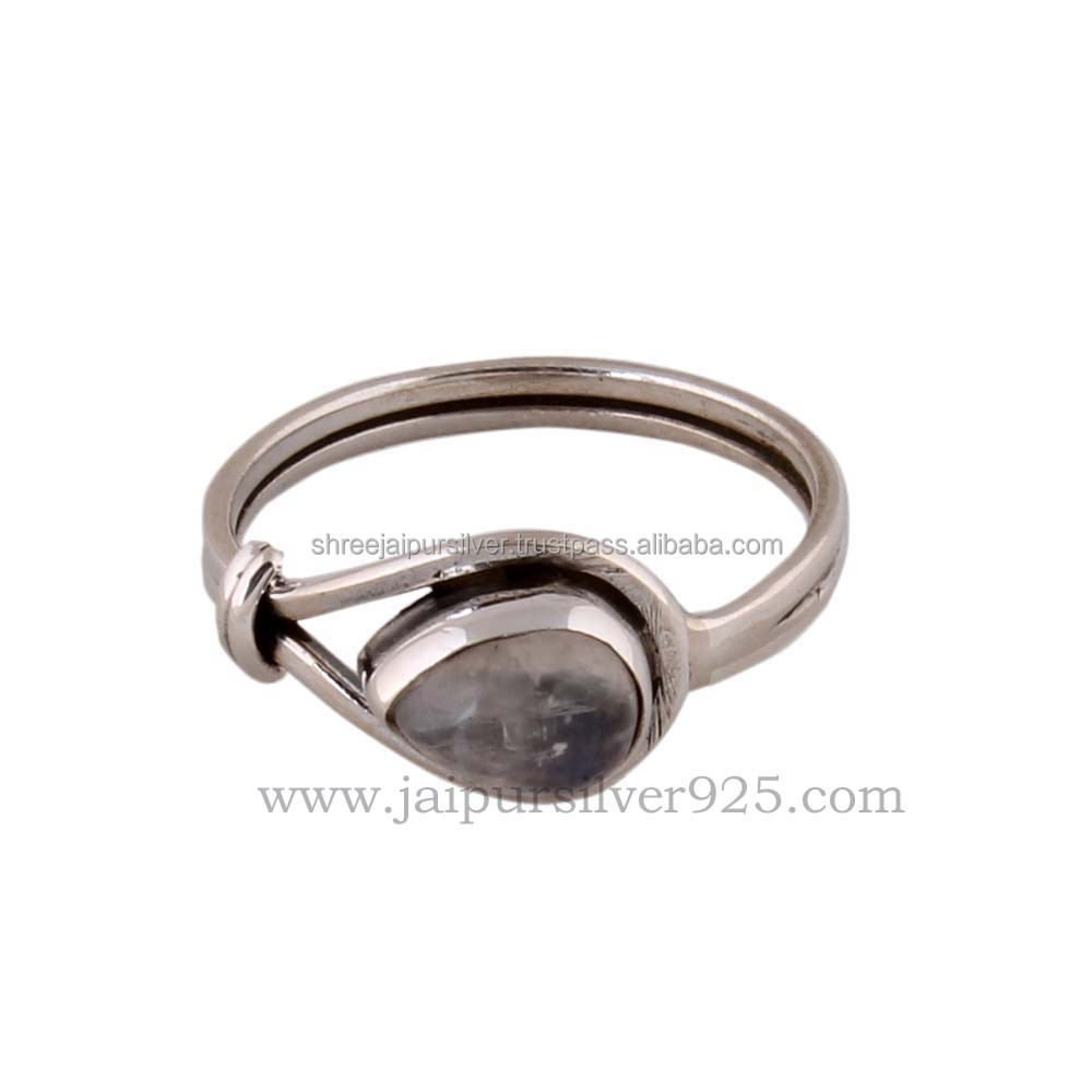 925 Sterling silver most beautifull design rainbow moonstone ring