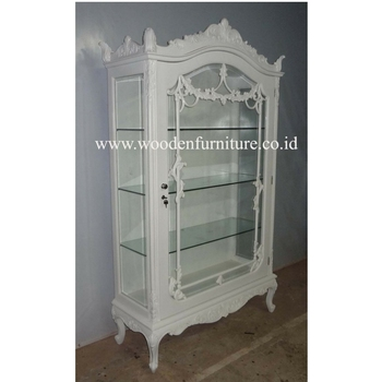 White Painted Showcase French Style Display Cabinet European Style