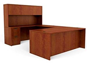 "Offices To Go U Shaped Desk W/Hutch 71""W X 29 1/2""H X 108""D Desk 71""W X 36""D X 29 1/2""H Bridge 48""W X 24""D X 29 1/2""H Credenza 71""W X 24""D X 29 1/2""H Hutch 71""W X 15""D X 36""H - American Dark Cherry"