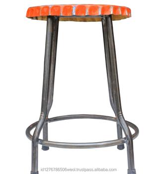 Vintage Rustic Recycled Furniture Industrial Metal Bottle Top Stool Buy Industrial Metal Bar Stools Vintage Metal Bar Stool Reclaimed Bar Furniture