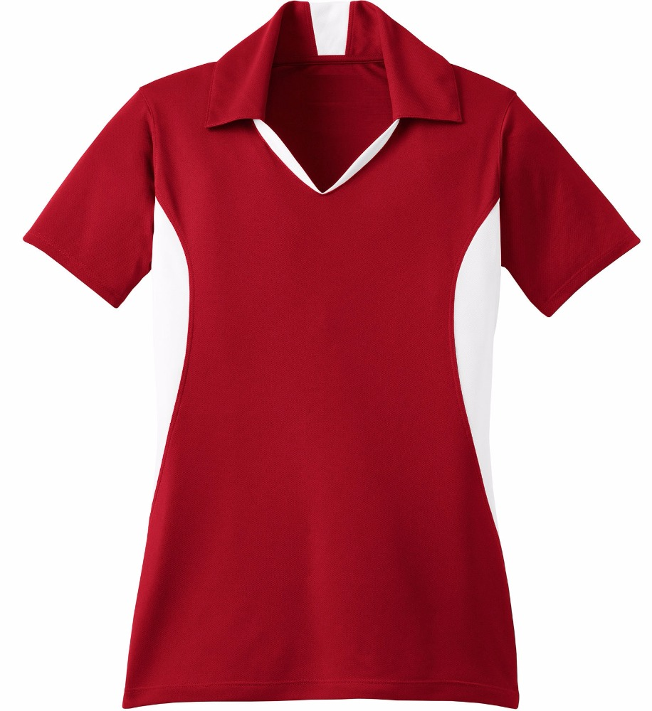 Ladies Side Blocked Sport-Wick polo t shirts collar available fabric bamboo modal organic cotton