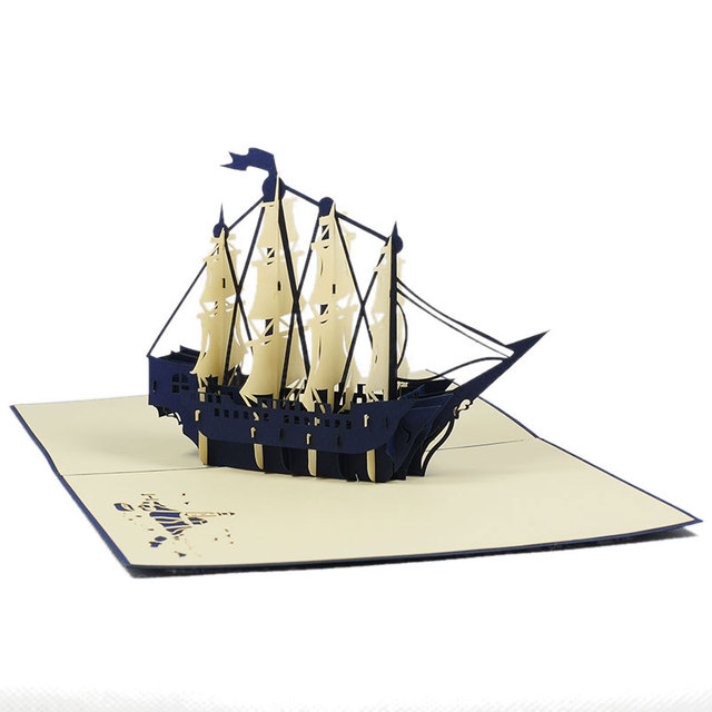 Boat Fathers day birthday get well thank you 3D POP UP CARD