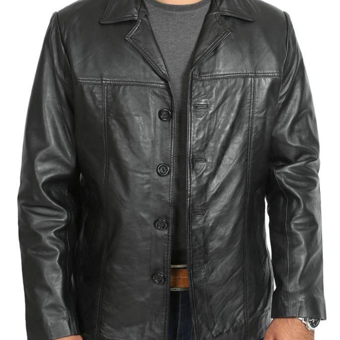 купить мужскую кожаную куртку на пуговицах