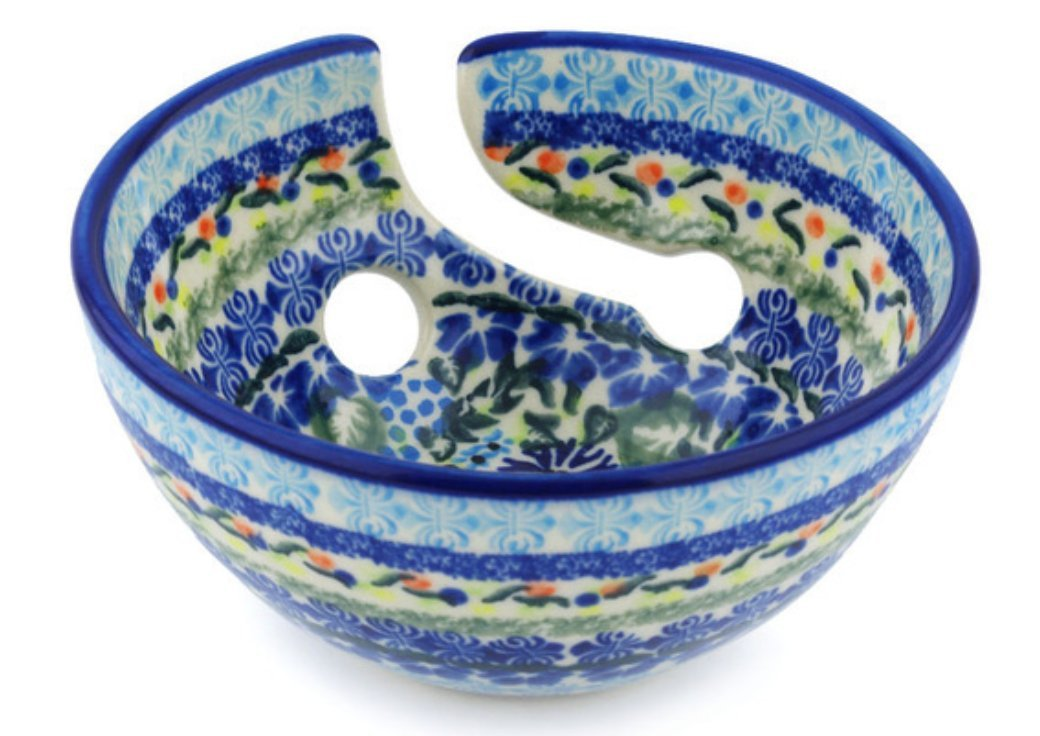 Polish Pottery Yarn Bowl 6-inch Flor-de-lis