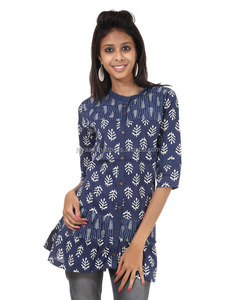 Blue Cotton Printed Kurti Full Buttoned Round Neck 3/4 Sleeves Short Kurti For Girl