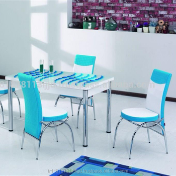 Restaurant Table Set Gl Face Chrome Legs Dining 6 Chairs Kitchen And Chair Product On Alibaba