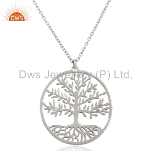 Handmade Sterling Fine Silver Life of Tree Pendant Wholesale Plain Silver Pendant Jewelry Supplier