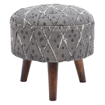Living Room Diamond Patterned Round Ottoman Stools With 3 Wooden Legs