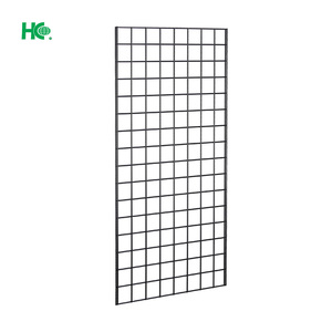 Wire mesh wall grid display shelf for hat shop