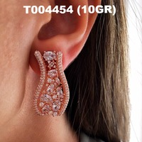 Wholesale Baguette Stone Handmade Rose Gold-Plated 925 Sterling Silver Jewelry Ear Cuff Earrings