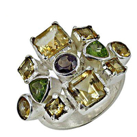 Exclusive fashionable 925 silver gemstone ring with Multi Stone