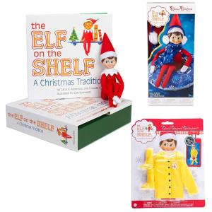Elf on The Shelf Boy with Bonus Outfits: Scout Elf Boy, Snow Tube Set, and Elf Raincoat