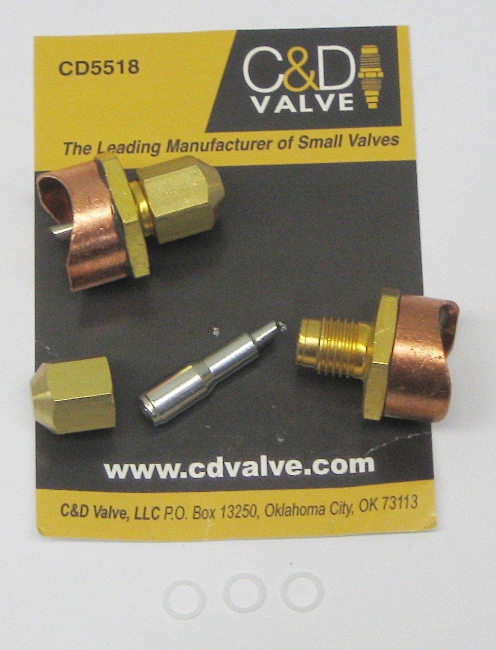 "C & D Valve - CD5518 - 1-1/8"" Braze-On Self Piercing Copper Saddle Valve, Pack of 2"