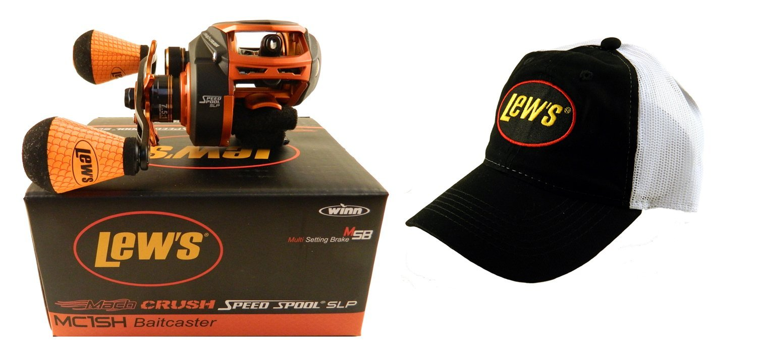 Lew's Mach Crush Speed Spool MC1SH 7.5:1 Right Hand Baitcasting Reel with Hat