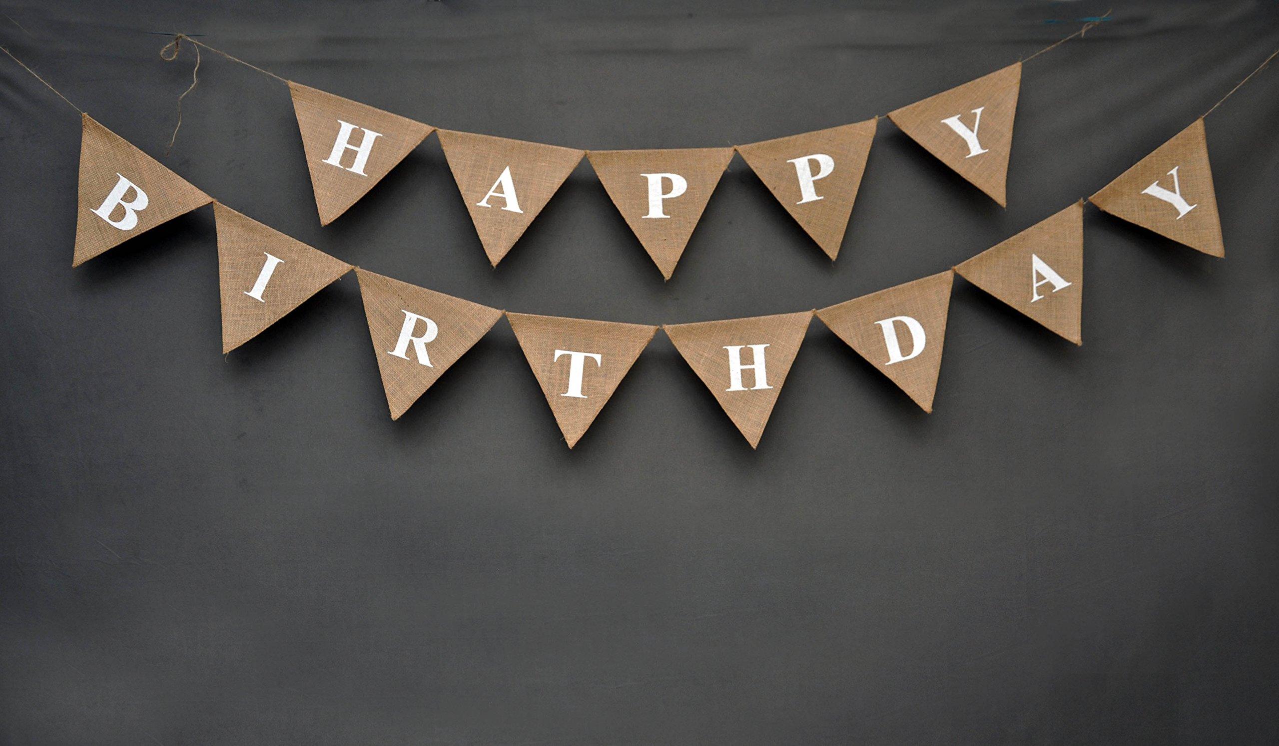 Happy Birthday Banner- Burlap Banner - Rustic Burlap Birthday Banner - Rustic Elegant Happy Birthday Bunting - Unisex Birthday Garland - Rustic Elegant Universal Birthday Decor