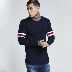 Men's plain long sleeve t shirt with arm stripes gym slimfit