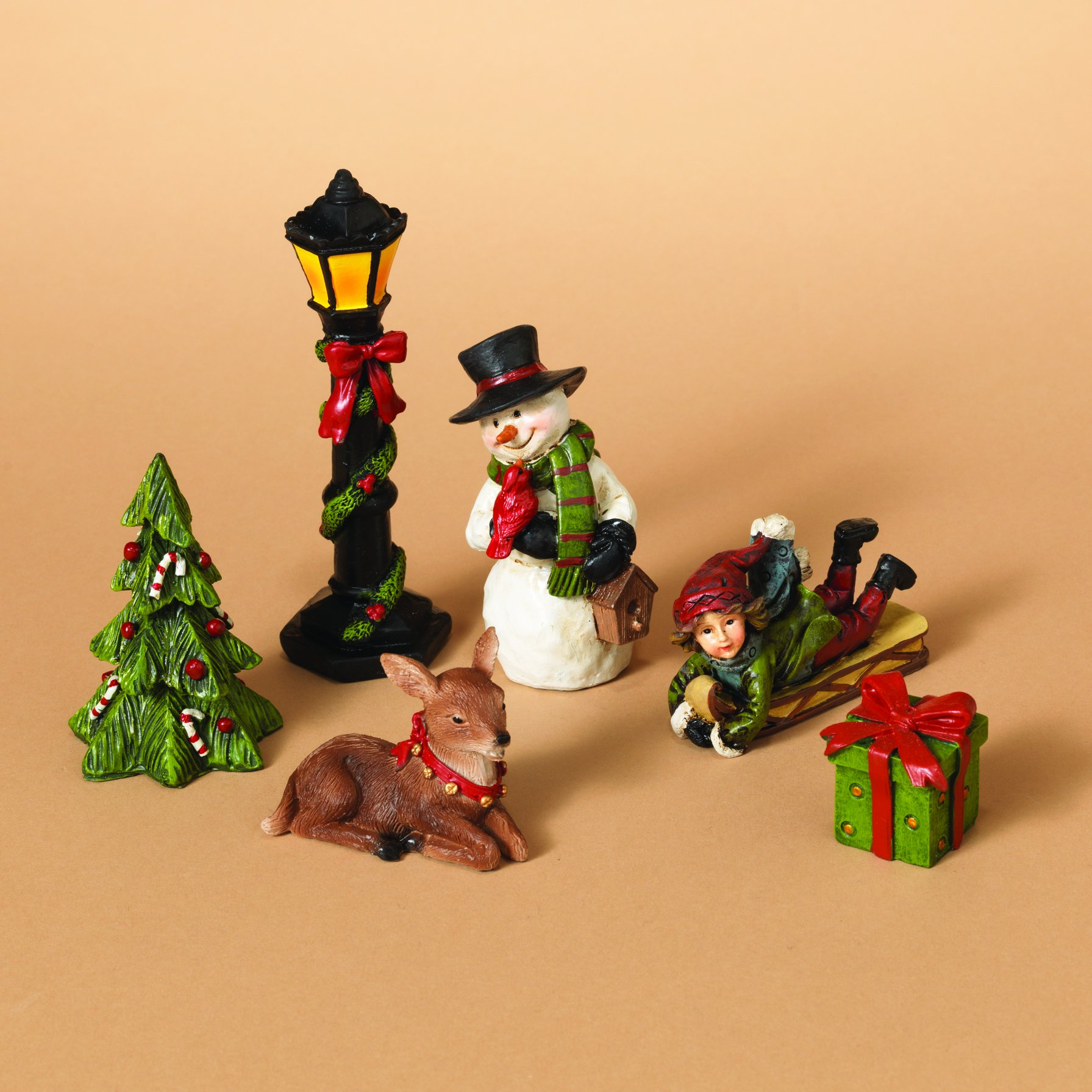 get quotations miniature traditional christmas figurines set of 6 rearrangeable figures tabletop holiday decoration - Miniature Christmas Figurines