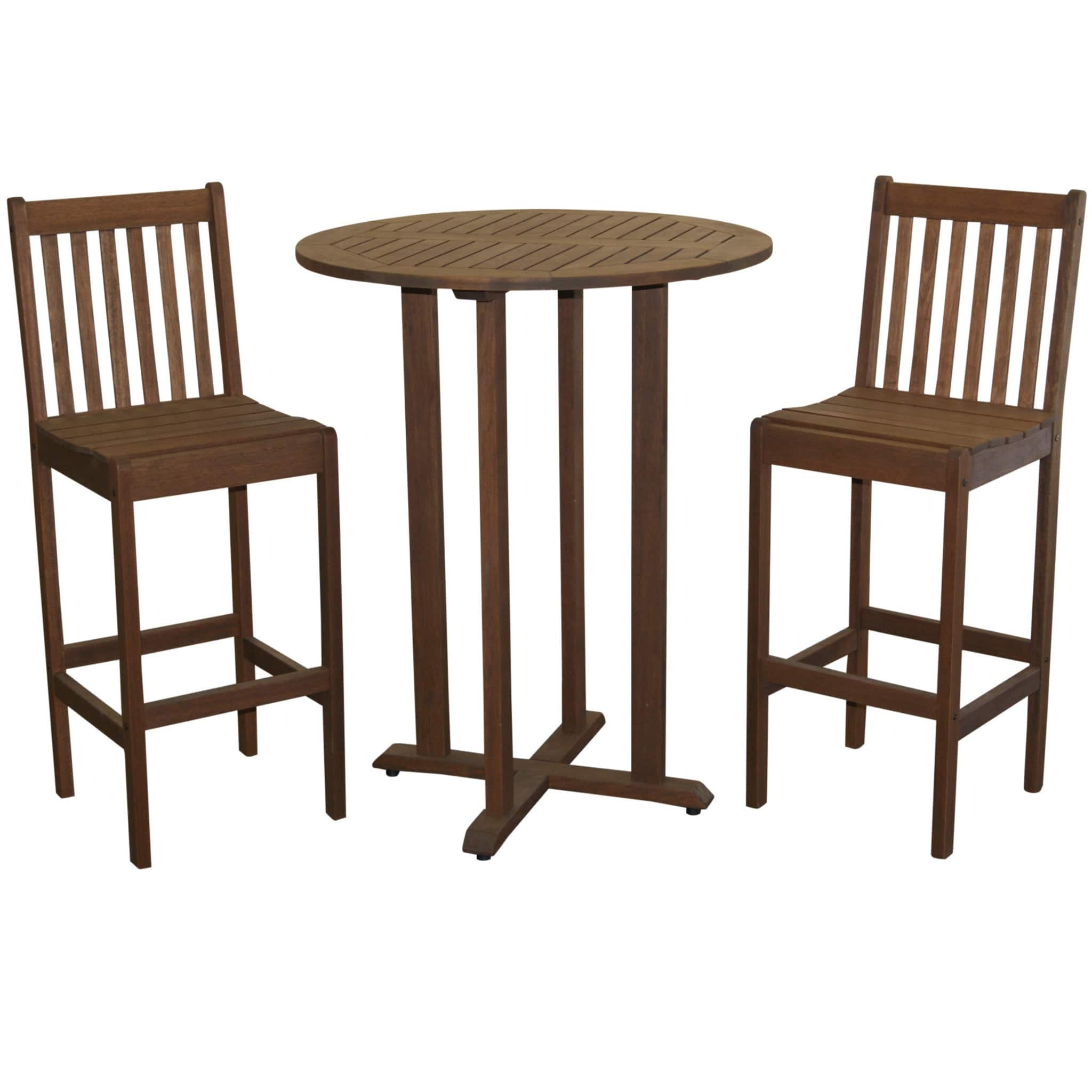 cf462a727d1 Get Quotations · Timbo Torino Hardwood Outdoor Patio Bar Bistro Set with a  Bar Bistro Table   2 Bar