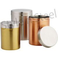 Stainless Steel Multi Color Canister Set of 3 pcs