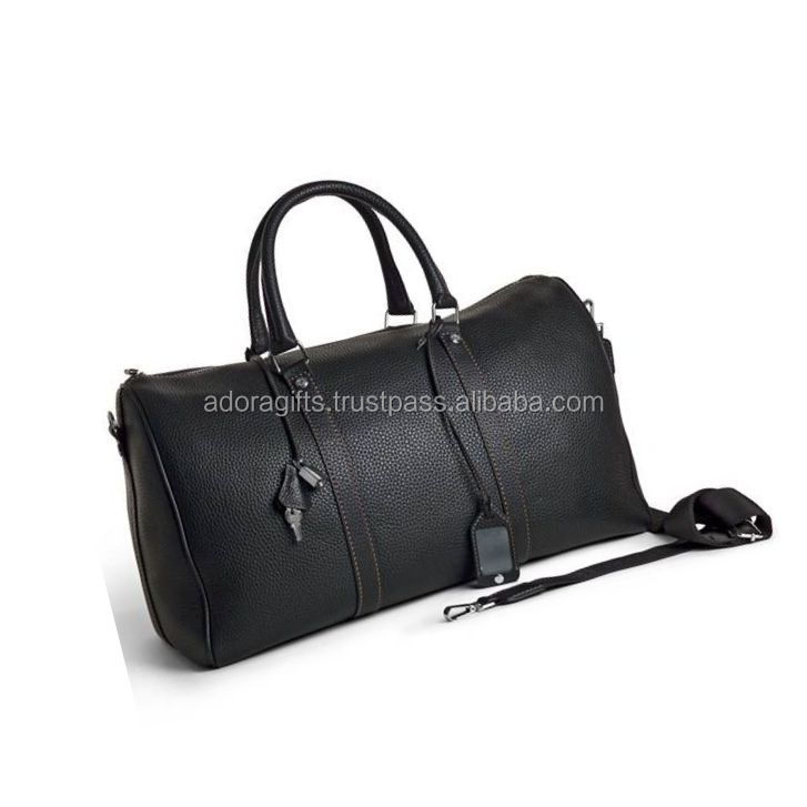 Genuine leather Black color travel duffle bag with handle and the luggage tag