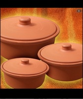 Earthenware terracotta clay cooking pot casserole cokware pot