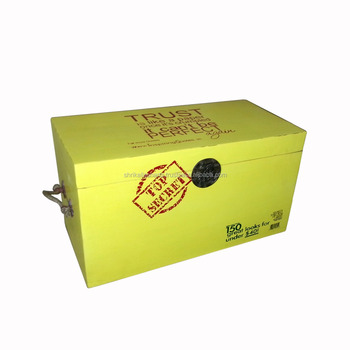 Simple Plain Wooden Box Painted Colourful Yellow With Printed Stickers  Wooden Box Carved Wooden Storage Box