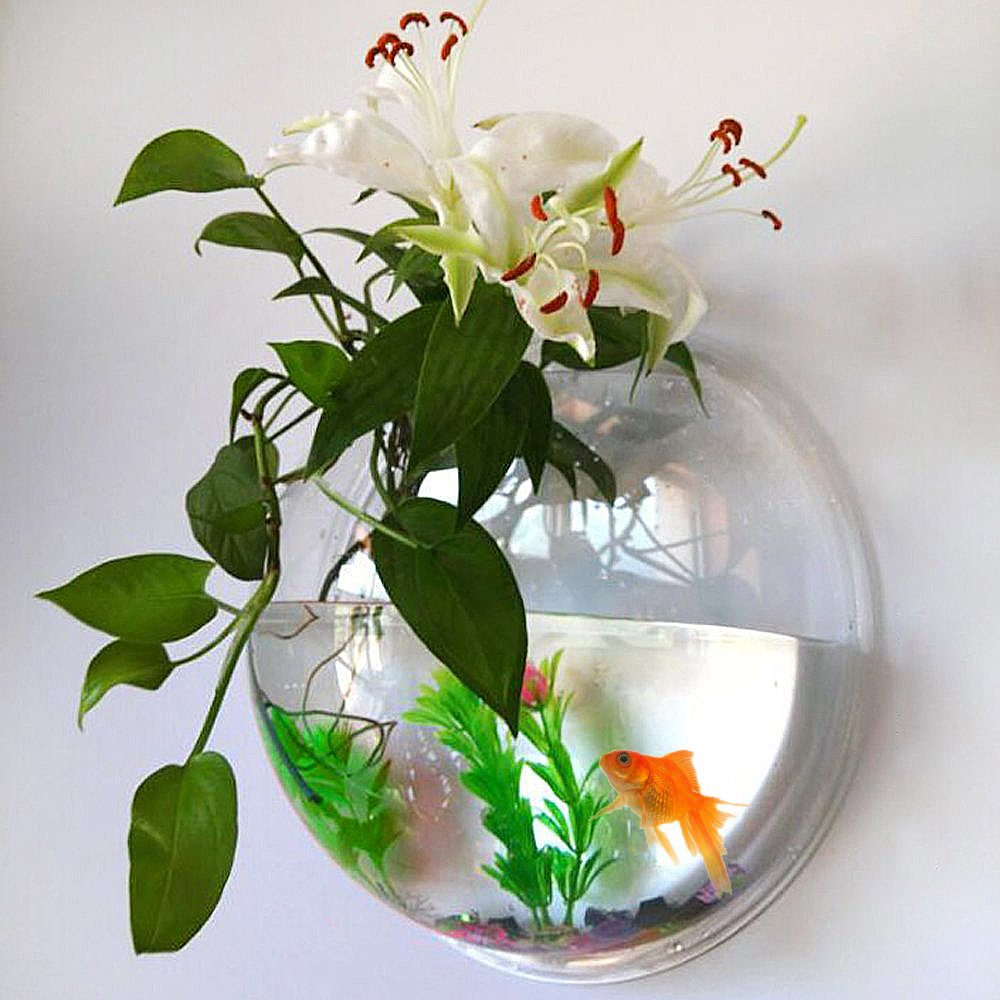 Fish Bowl Acrylic - Fish Bubble Wall Mounted Aquarium Bowl Hanging Pet Fish Tank By UniqCollection - Holds up to Approx 0.7 Gallon Water - Fake Plant and Stone Decoration Included